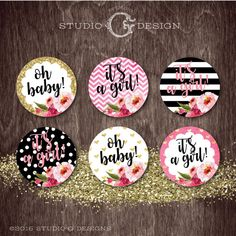 KATE Spade Inspired CUPCAKE TOPPERS Baby Shower by studioGdesigns