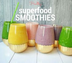 6 Healthy Superfood Smoothie recipes loaded with fresh fruits, vegetables, protein, and nut milks to give you the powerful mental boost in the morning.