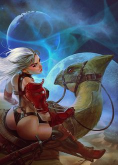 The amazing digital art of I-GUYJIN-I Beginner's Guide to Digital Painting in Photoshop: Characters Arte Sci Fi, Sci Fi Art, Arte Heavy Metal, Heavy Metal Comic, Fantasy Art Women, Fantasy Girl, Fantasy Warrior, Fantasy Artwork, Sword And Sorcery