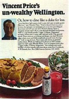 Vintage Vincent Price ad for un-wealthy Beef Wellington.