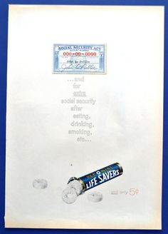 1961 Life Savers Pep O Mint Candy Vintage Print Ad - Extract Social Security - Still Only 5 cents