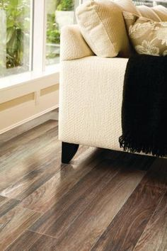 Porcelain tiles designed to look just like wood. More durable than real wood, and require less maintenance!