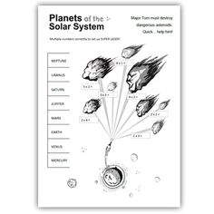 Major Tom and Asteroids ( multiplication ) List Of Resources, Teacher Resources, Teaching Science, Teaching Ideas, Solar System Worksheets, Planet Order, Multiplication, Math, Solar System Planets