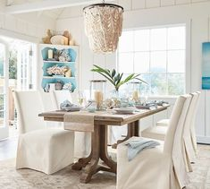 White Washed Wood Bead Chandelier for a Coastal Living Room. Featured on Completely Coastal: Shop the Look at Pottery Barn. Coastal Bedrooms, Coastal Living Rooms, Coastal Cottage, Coastal Farmhouse, Coastal Homes, Coastal Bedding, Small Bedrooms, Farmhouse Table, Wood Bead Chandelier