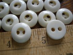 "Cool Cream Vintage Whistle Buttons 12 Plastic 9/16"" (22L 14MM) ivory white 2 hole sew-on sewing crafts tags wedding jewelry supply by kabooco on Etsy"