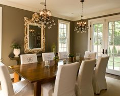Creating Your Terrific Interior Decorating Design With Stunning Christmas Chair Cover Ideas : Delectable Dining Room Design With Lovely Monogrammed Chair Covers For Christmas Chair Cover Ideas Feats Gloss Wood Dining Table And Comfy Crystal Pendant Lamps And Breathtaking Brown Wall Color Decoration Ideas