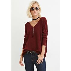 Forever 21 Forever 21 Women's  V-Neck Cutout Sweater ($18) ❤ liked on Polyvore featuring tops, sweaters, acrylic v neck sweater, red v neck top, forever 21, cutout sweater and red top