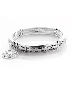 Silver Serenity Prayer Stretch Bracelet #zulily #zulilyfinds