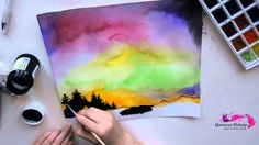 How to draw the northern lights? (watercolor tutorial)