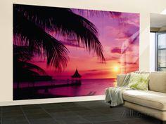Puesta de sol, palmeras, playa, agua, océano, Bahía Montego ...