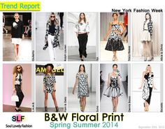 Black & White Floral PrintFashionTrend for Spring Summer 2014 at New York Fashion Week. More Floral Fashion Trend for Spring Summer 20...