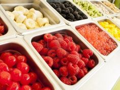 These are just some of the fresh fruits we have for toppings in our WholeYo bar. These include raspberries, bananas, strawberries, cherries, blueberries, mangos , kiwi, and more!