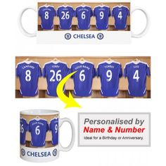 Chelsea Personalised Player's MugAppear alongside Chelsea Greats like Torres and Lampard.    We merge your Surname and chosen number onto the centre shirt in the Official Chelsea dressing room. Displayed on a quality, durable mug, this superb full-colour design is guaranteed to make you the envy of the office.    Height: 90mm.  Width: 80mm. Chelsea Fans, Soccer Gifts, Sports Gifts, Picture Gifts, Soccer Fans, Gifts For Boys, Football, Make It Yourself, American Football
