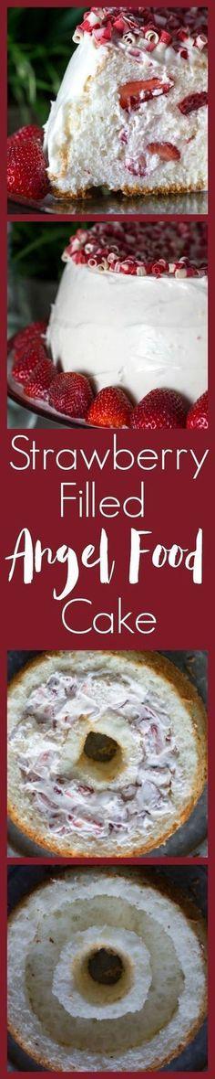 Strawberry filled angel food cake #Yummycakes