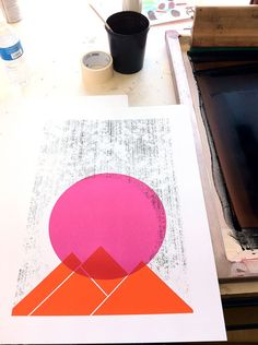 """A peek into our studio & hand silkscreen printing process with our """"Sun Mountains"""" Geometric Art Print, by strawberryluna. (Available in our web store at http://shop.strawberryluna.com)"""