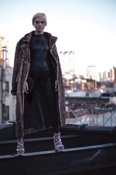 """Skeleton Mode """"Love My Way"""" Editorial Fashion story with Model Ruby Jean Campbell. Photographed by Nicholas Seve. Creative, Fashion, Photo, Art Direction & Styling by Vinny Michaud. Ruby wears: Designers - Saint Laurent, Surface to air, Merc, Mad Cap, Double Press, Levis Top Shop, H&M, Eddie Borgo, Jimmy Choo & Steve Maden. Women's MOD, Punk, Grunge, Goth, Industrial, New Wave, Shoe Gaze Editorial Fashion by Vincent Michaud. Location NYC roof top."""