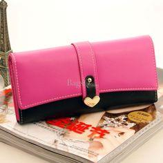 New Arrival South Korea Sweetheart Fastener Contrast Color Female Long Wallet