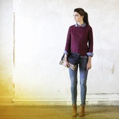 Purple cable knit sweater, lilac or blue button-up shirt, jeans, beige / tan ankle boots