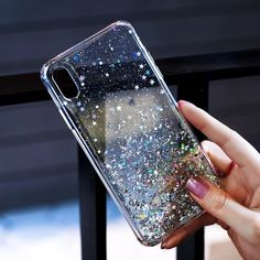 For iPhone 11 Pro XS Max XR X 8 7 Plus Glitter Shockproof Protective Case Cover. A slim shockproof case that shows off the Logo. Transparent case with glitter and bling sequins. Iphone 7, Coque Iphone, Iphone Phone Cases, Mobile Phone Cases, Samsung Cases, Iphone 11 Pro Case, Phone Covers, Glitter Phone Cases, Cool Phone Cases