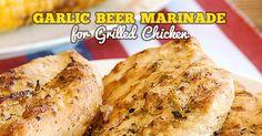 Garlic Beer Marinade for Grilled Chicken - a simple marinade made with fresh ingredients creates the most tender and flavorful chicken ever! It is fast easy and flavorful. No chopping required. Blend in food processor and marinate!
