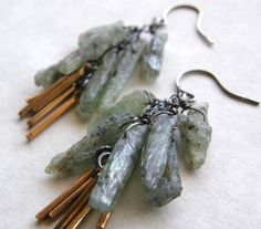 Green Kyanite Earrings, Rustic Earrings, Mixed Metal Brass and Silver Earrings, Fringe Earrings, Dangle Earrings