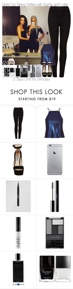 """""""2 Days Until My Birthday ~ Night Out Taking Selfies with Lottie and Sophia"""" by elise-22 ❤ liked on Polyvore featuring Topshop, Prada, Stila, shu uemura, NARS Cosmetics, Wet n Wild, Agonist, Butter London and ASOS"""