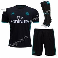 b047bc172ec 2017-18 Real Madrid Away Black Thailand Soccer Uniform With Socks Soccer  Uniforms