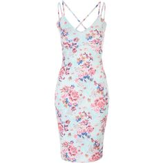 Floral Strappy Bodycon Dress (46 CAD) ❤ liked on Polyvore featuring dresses, floral dress, body conscious dress, floral pattern dress, floral printed dress and blue floral dress