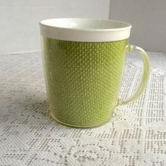 Vintage Raffia Ware Plastic Melamine Insulated Mugs / Green Raffiaware Coffee Cups by vintagepoetic on Etsy