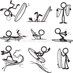 Stickfigures surfing and doing different actions.