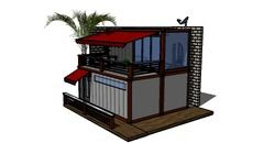 3D Model of Guest House Shipping Container