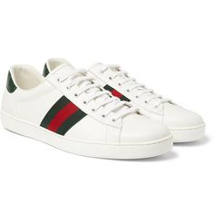 GUCCI ACE CROCODILE-TRIMMED LEATHER SNEAKERS.  gucci  shoes Tenis Gucci  Mujer 3173aa8ac14