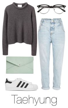 A fashion look from January 2016 featuring grey shirt, blue denim jeans and adidas originals sneakers. Browse and shop related looks. Kpop Fashion Outfits, Korean Outfits, Teen Fashion, Korean Fashion, Fashion Women, Teenage Outfits, Outfits For Teens, Girl Outfits, Baskets Louis Vuitton