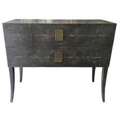 Charcoal Shagreen 2 Drawer Cabinet with Bronze Pulls
