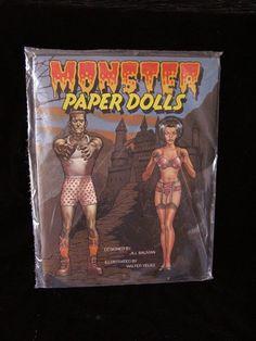 Monster Paper Dolls Bride Of Frankenstein Dracula Wolfman #monsters #collectibles #halloween #memorabilia