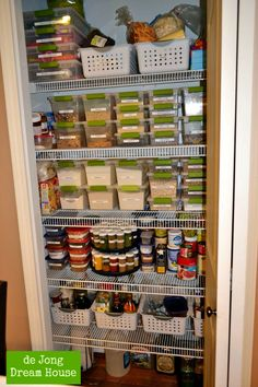 This is my current pantry:          I love my label maker.    I bought all the green containers at Target . They are called Sterilite clipb...