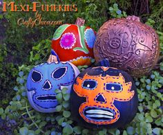 MEXI-HALLOWEEN! Lucha Libre pumpkins, oilcloth and Aztec-inspired! Diary of a Crafty Chica™