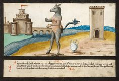 """1496 -- """"In A.D. 1496, in the month of January, at the time The Tiber burst its banks high and wide near Rome: what wondrous creature appeared, found dead where the raging and the might of the Tiber's waters had subsided, and was in this shape and form, as it is painted there."""" -- The Book of Miracles (f°90), ca. 1552"""