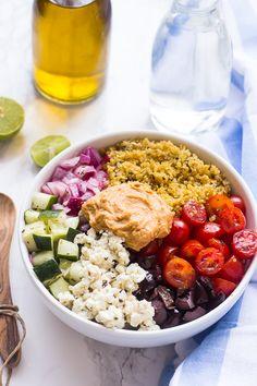 Mediterranean Quinoa Salad Bowl - potluck at ohmyveggies.com