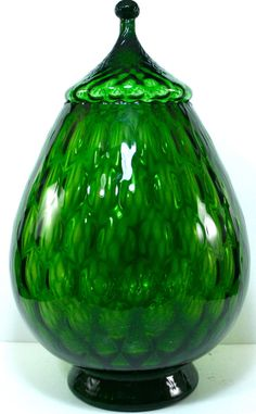 EMPOLI of Italy Art Glass Elegant EMERALD Optic Oversized Candy BOWL #EmpoliofItaly