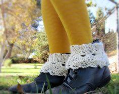 Ankle Crochet Vintage Spats | Ankle Warmer- Boot Cuffs for Women- Crochet Boot or Shoe Ruffle- Shoe ...
