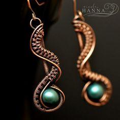 Wire-wrapped drop earrings.