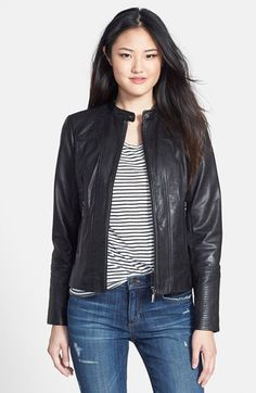 Adding this because I've been thinking about leather jackets...maybe for fall? I like the cropped motorcycle style on display here.