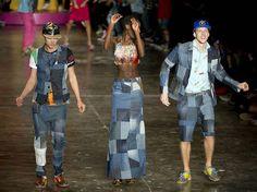 Batom Vermelho: Jeans Patchwork