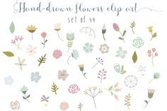 Check out 44 flowers clip art set by The little cloud on Creative Market