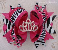 Hot Pink and Zebra Tiara Princess Hair Bow by CreativeFinishesBows, $9.00