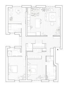 Gallery of Chaptal Residence / Nathalie Eldan Architecture – 21 Galerie der Chaptal Residenz / Nathalie Eldan Architecture – 21 Floor Plan Drawing, House Drawing, Architecture Drawing Plan, Architecture Design, Residential Architecture, Contemporary Architecture, Architectural Floor Plans, Built In Furniture, Planer