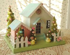 Shabby Easter House Cottage - Bottle Brush Trees and Pink Roses on Etsy, $48.00