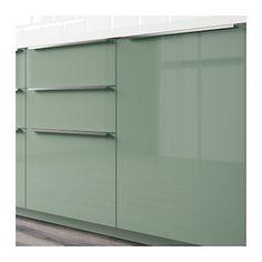 KALLARP door f corner base cabinet set - high-gloss grey-turquoise - IKEA High Gloss Kitchen Cabinets, Base Cabinets, Corner Base Cabinet, Style Minimaliste, Ikea Kitchen, Kitchen Ideas, Kitchen Modular, Barn Kitchen, Kitchen Units