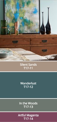 BEHR's collection of 2017 Color Currents is full of inspiring color palettes. Darker colors like Wanderlust, In the Woods, and Artful Magenta are toned down when paired with a softer neutral like Silent Sands. Check out the rest of these modern paint colors and find the perfect combination for your home.